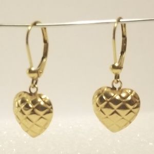 14k Yellow Gold Quilted Heart Earrings